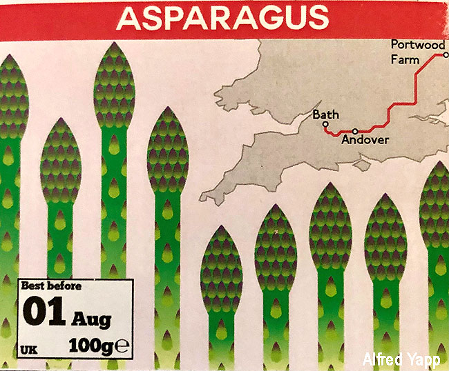 Asparagus label by Alfred Yapp
