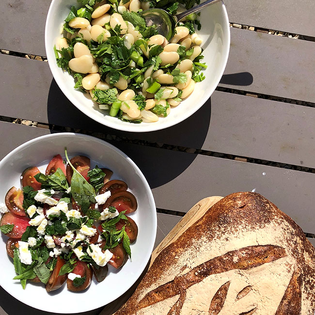Butter beans, tomato, mint and sourdough salad