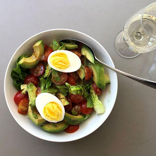 Cherry tomato, egg, avocado and little gem salad
