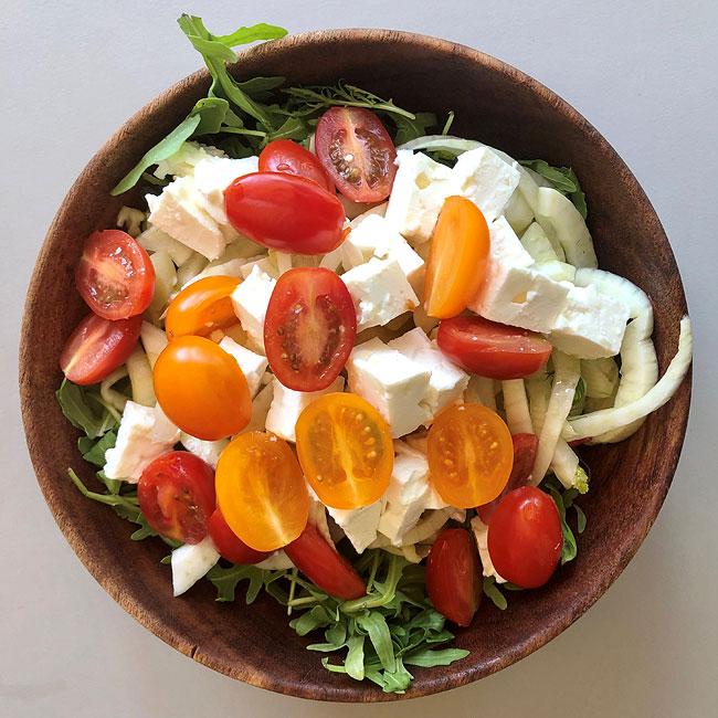 Tomato, feta cheese, basil and mint salad