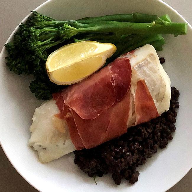 Haddock with Serrano Ham, Puy Lentils and Broccoli